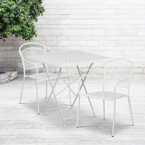 28'' Square Indoor-Outdoor Folding Patio Table Set with 2 Round Back Chairs
