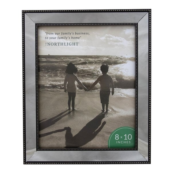 Silver Studded Glass Mirror Encased Photo Picture Frame 8x10 - 8-inchx10-inch