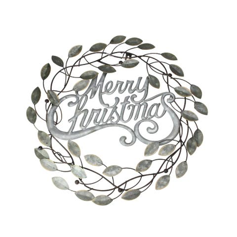 "17.5"" Silver and Bronze ""Merry Christmas"" Wall Hanging Wreath"