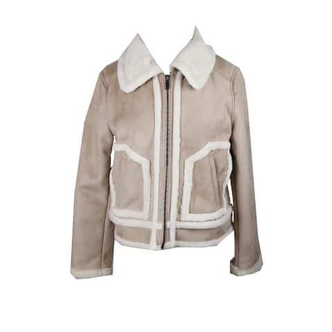 Collection B Beige Faux-Shearling Trimmed Moto Jacket L