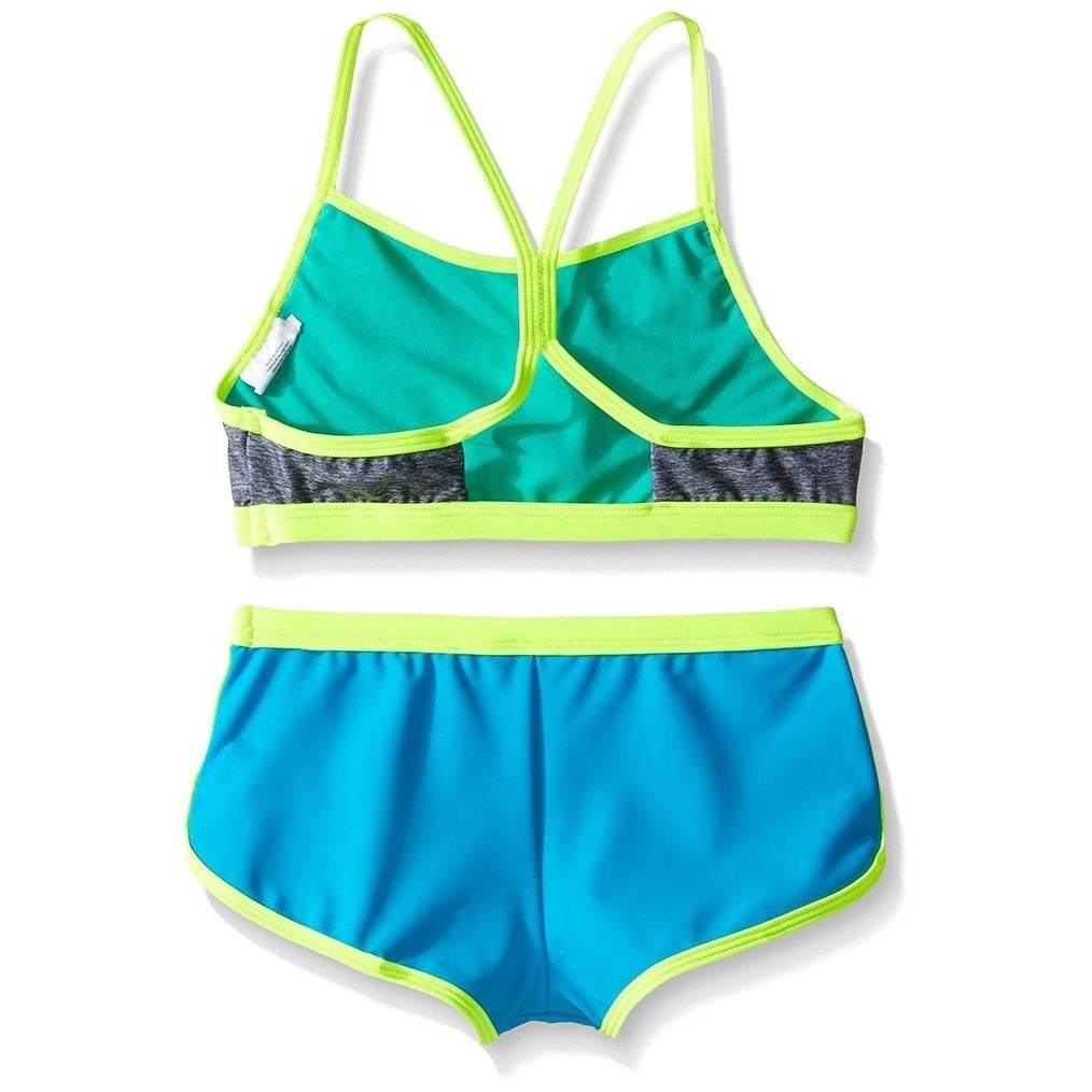 ddf5b0158f Shop Speedo Girls Digi Zig Zag Heather Two Piece Boyshort Bikini Set, Blue,  Size 8 - Free Shipping Today - Overstock - 27068517