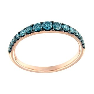 Prism Jewel 0.50Ct Round SI1 Blue Color Diamond Wedding Band