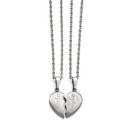 "Chisel Stainless Steel Brushed 1/2 Heart ""Mother""/""Daughter"" Necklace Set"