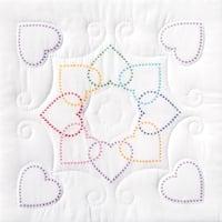 "Stamped White Quilt Blocks 18""X18"" 6/Pkg-XX Hearts Circle"