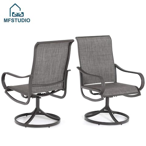 MFSTUDIO 2 Pieces Patio Steel Dining Swivel Chairs Bistro Backyard Rocker Weather Resistant Garden Outdoor Furniture