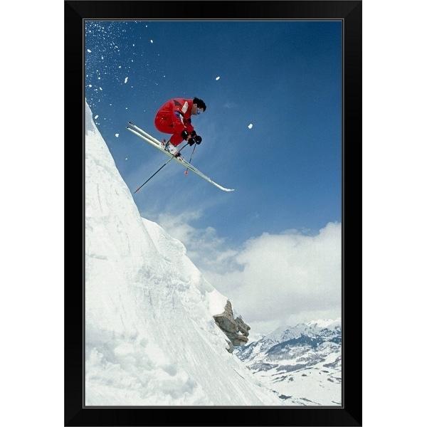 """""""Airborne alpine skier, Crested Butte, CO"""" Black Framed Print"""