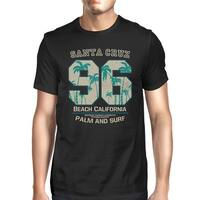 Santa Cruz Beach California Men Black Tee Short Sleeve Summer Shirt