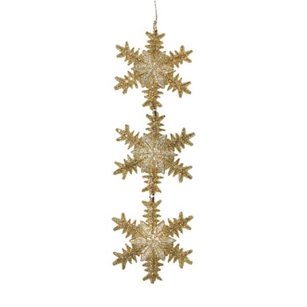 Seasons of Elegance Gold & Silver Snowflake Trio Christmas Ornament