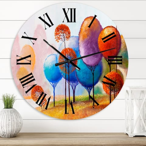 Designart 'Colourful Trees Impression III' Traditional wall clock