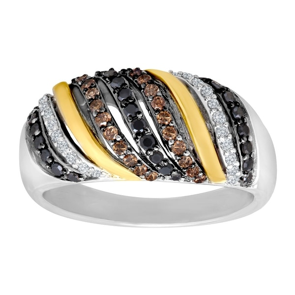 1/2 ct Black, Champagne and White Diamond Ring in Sterling Silver and 14K Gold - Black