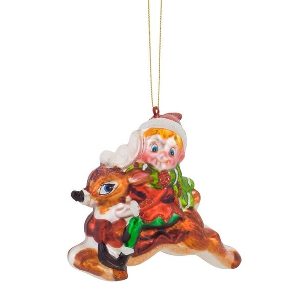"Set of 6 Vibrantly Colored Decorative Elf with Deer Christmas Ornaments 4.5"" - multi"