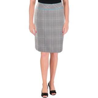 Tahari ASL Womens Petites Pencil Skirt Plaid Office - 2p