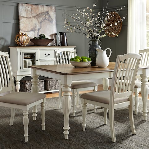 The Gray Barn Arctic Arrow Nutmeg and White 5-piece Rectangular Table Set