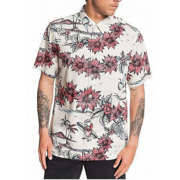 Quiksilver Mens Shirt Medium Button Down Poipu Beach Comfort Red M