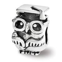 Sterling Silver Reflections Graduation Owl Bead (4mm Diameter Hole)