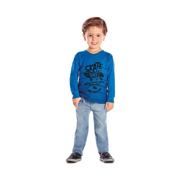 Toddler Boy Long Sleeve T-Shirt Skater Graphic Tee Winter Pulla Bulla 1-3 Years