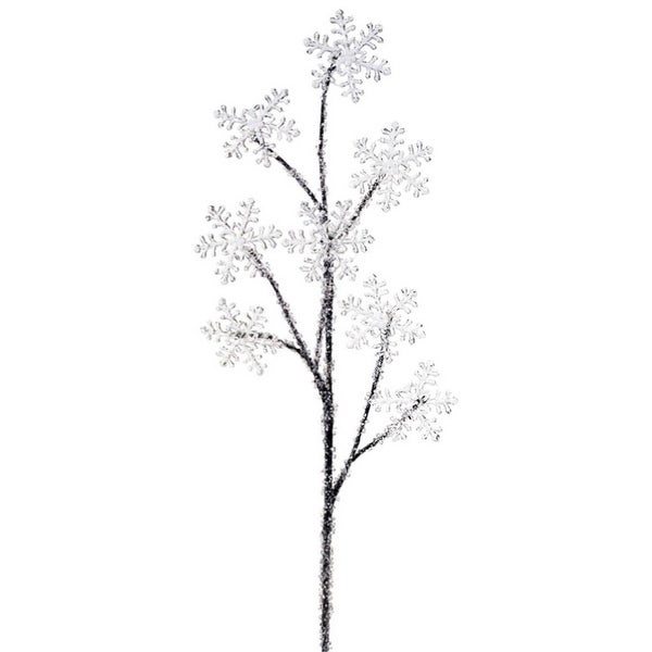 Pack of 12 Clear Acrylic Crystal Snowflake Artificial Christmas Sprays 33""