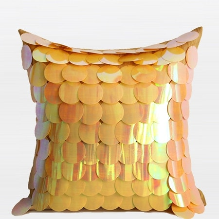 "G Home Collection Luxury Yellow Textured Handmade Sequins Pillow 16""X16"""