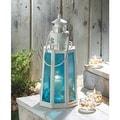 Blue And White Lighthouse Candle Lantern - Thumbnail 0