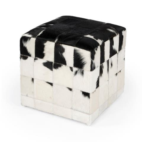 Offex Victorian Square HomeDecorative Hair on Hide Pouffe, Black/White