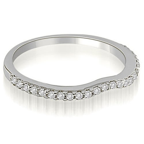 0.24 cttw. 14K White Gold Curved Round Cut Diamond Wedding Band