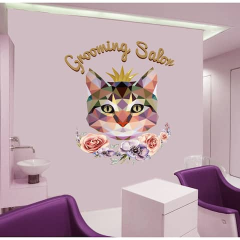 Pet Grooming Salon Wall Decal, Animal Grooming Salon Sticker, Grooming Salon Decor