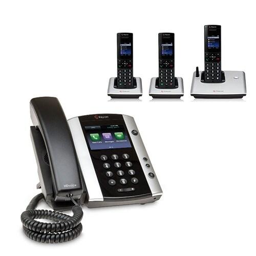 Polycom 2200-48500-025 VVX 501 Corded Business Media Phone System-12 Line PoE w/ 3 VVX D60 Handset