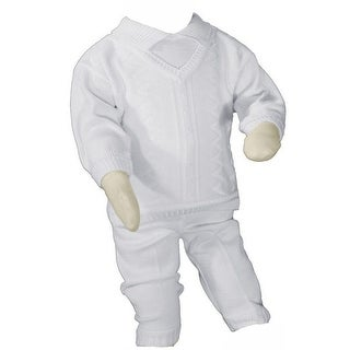 Baby Boys White Cotton Knit 2 Piece Christening Outfit