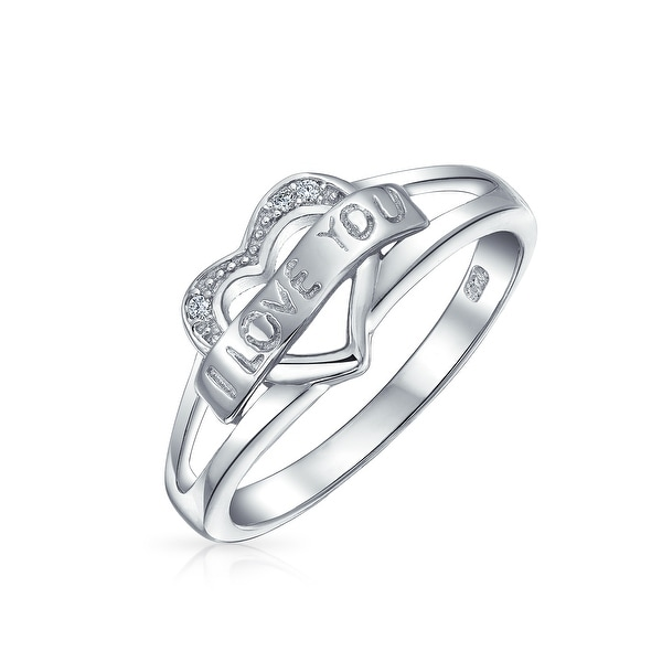I Love You Word Heart Shape Promise Ring For Teen For Girlfriend Thin Band 925 Sterling Silver. Opens flyout.