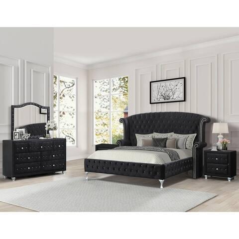 Best Master Furniture Crushed Velvet 5-piece Platform Bedroom Set