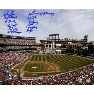 1986 NY Mets 11 Signature Shea Stadium Photo  16x20 Photo w 86 WS Champs insc by Johnson MLB Auth