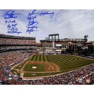 1986 NY Mets 11 Signature Shea Stadium Photo 16x20 Photo w 86 WS Champs insc by Johnson MLB Auth