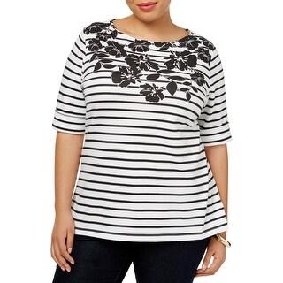 Karen Scott Womens Plus Casual Top Striped Printed