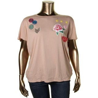 Guess Womens T-Shirt Floral Patches Short Sleeves