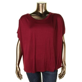 Bobeau Womens Plus T-Shirt Modal Ruched Red 3X