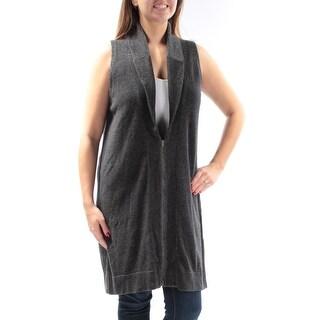 EILEEN FISHER $318 Womens New 1387 Gray Zippered Sleeveless Vest Sweater L B+B