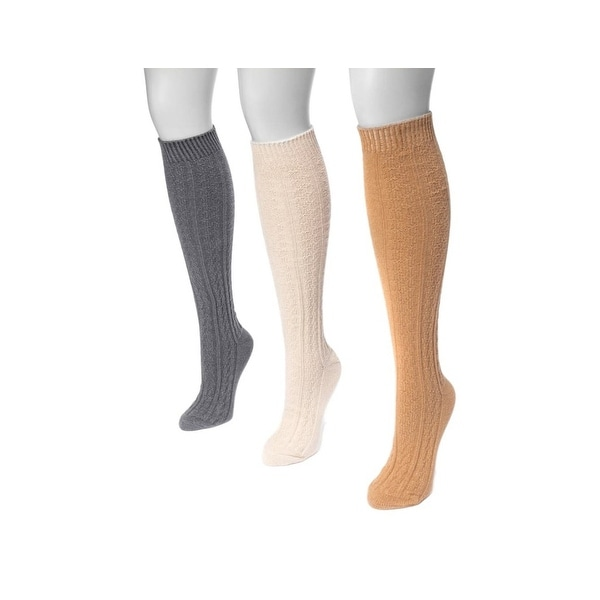 Muk Luks Socks Womens Knee High Cable Knit 3 pack One Size - One size