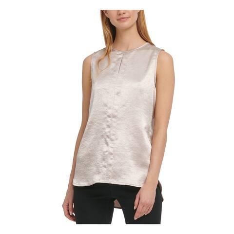 DKNY Womens Gold Sleeveless V Neck Top Size L