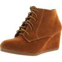 Bella Marie Brenda-11 Women's High Top Lace Up Rounded Toe Platform Wedge Suede Booties - Tan