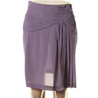 Catherine Malandrino Womens Silk Ruched Pencil Skirt - 4