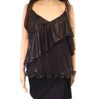 Ro & De Black Womens Size Medium M Ruffled Shimmer Tiered Cami Top