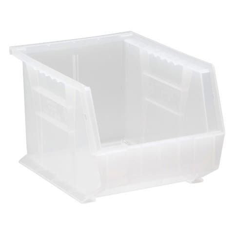 "Offex Plastic Storage Clear View Ultra Hang and Stack Bin 10-3/4"" x 8-1/4"" x 7"" - 6 Pack"