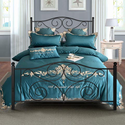 Countryside Scroll Black Iron Bed by VECELO Twin/Full/Queen Size