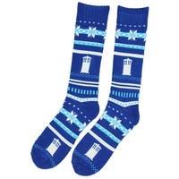 Doctor Who-Tardis Fair Isle Chunky Knit Sock-Size: 4-10