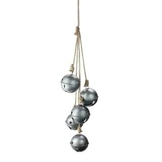 """27.5"""" Galvanized Metal Christmas Jingle-Bells Hanging Door Swag"""