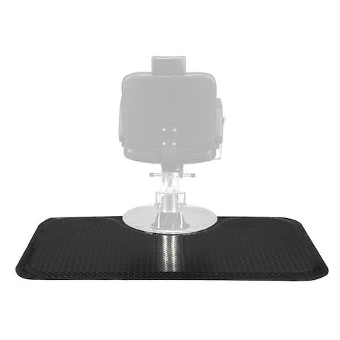 "3 ft. x 5 ft. 1/2"" Barber Salon Anti Fatigue Floor Mat Semi Rectangle Spa Equipment Steel Grain Black"