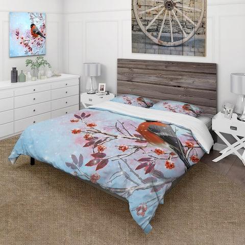 Designart 'Two Bright Bird Bullfinch Bird Sitting On A Branch' Traditional Duvet Cover Comforter Set