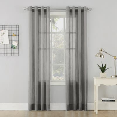 No. 918 Erica Crushed Voile Sheer Grommet Curtain Panel, Single Panel