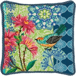 "Blue Floral Needlepoint Kit-14""X14"" Stitched In Wool"