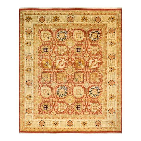 """Eclectic, One-of-a-Kind Hand-Knotted Area Rug - Orange, 8' 2"""" x 9' 8"""" - 8' 2"""" x 9' 8"""""""